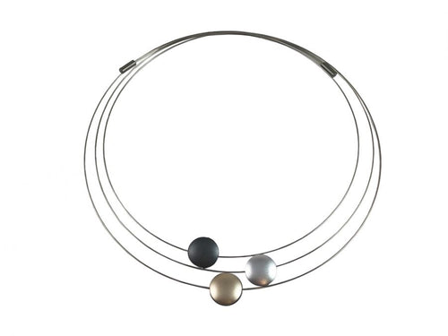 Three-coil Stainless Steel Necklace with Reversible Aluminum Pendants