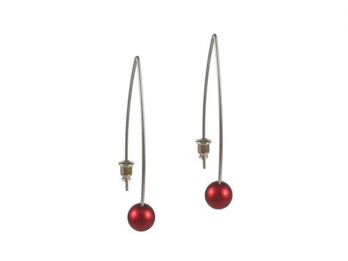 Stainless Steel and Red-Colored Aluminum Bead Earrings