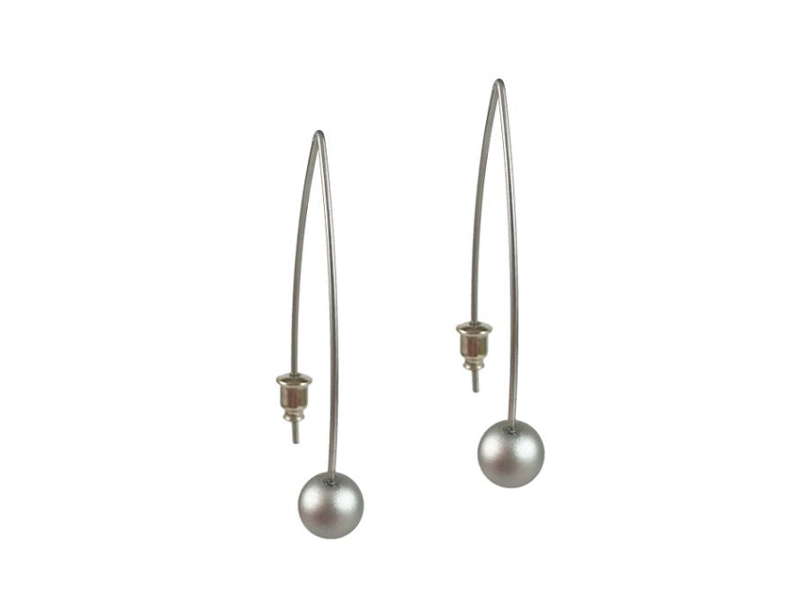 Silver-Colored Bead Earrings