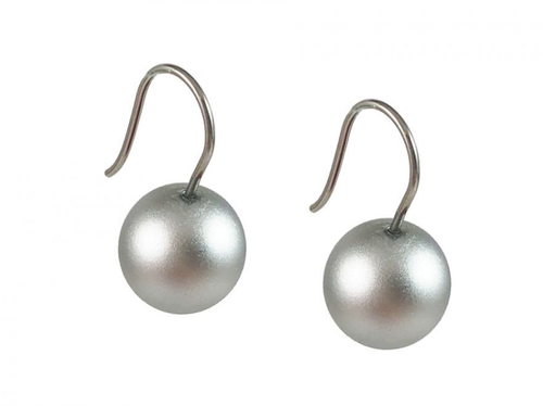 Stainless Steel and Silver-colored Aluminum Ball Earrings