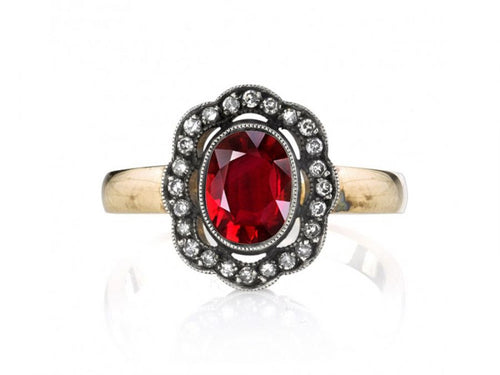 "18K Yellow Gold, Sterling Silver, Ruby and Diamond ""Charley"" Ring"