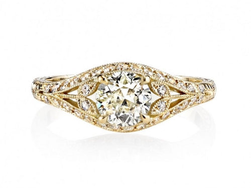 "18 Yellow Gold and Diamond ""Chloe"" Engagement Ring"