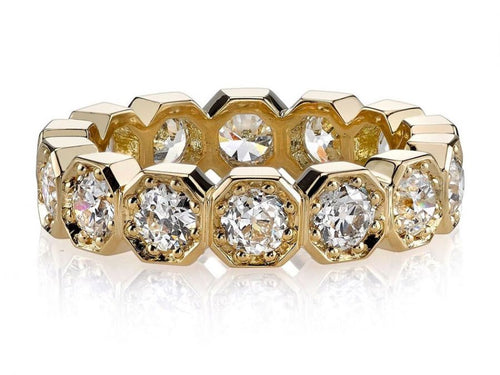 "Single Stone 18K Yellow Gold and Diamond ""Stella"" Wedding Band in Washington DC"