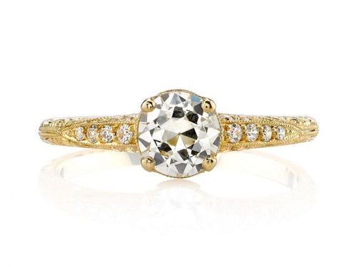 "18K Yellow Gold and Diamond Solitaire ""Elyse"" Engagement Ring"