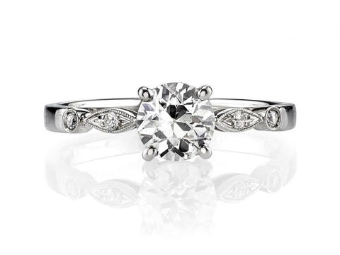 18K White Gold, Platinum and Solitaire Diamond Engagement Ring