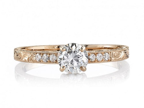 "18K Rose Gold and Diamond ""Eliza"" Engagement Ring"