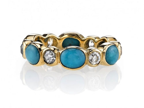 "Diamond and Turquoise ""Quinn"" Wedding Band"