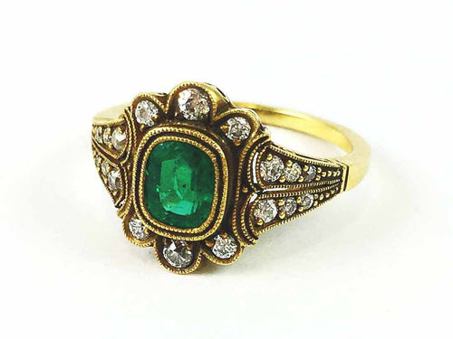 "18K Yellow Gold, Emerald and Diamond ""Layna"" Ring"