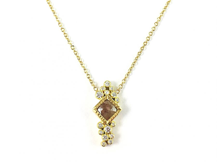 18K Yellow Gold and Natural Colored Diamond Necklace
