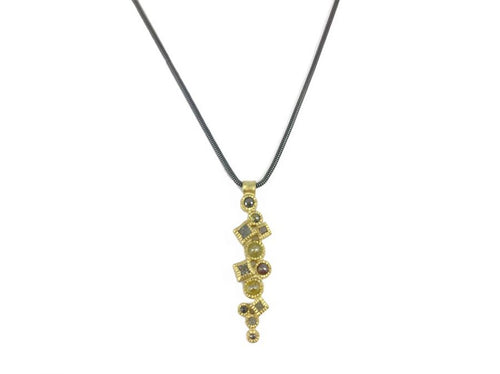 14K Yellow Gold and Rose Cut Diamond Pendant Necklace