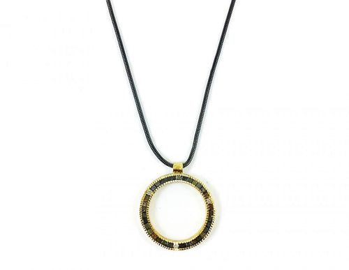 18K Yellow Gold, Oxidized Sterling Silver and Raw Diamond Cube Necklace