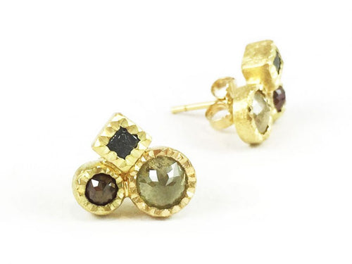 18K Yellow Gold And Rose Cut Diamond Earrings