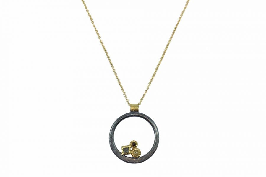 Oxidized Sterling Silver, 18K and 14K Yellow Gold and Diamond Necklace