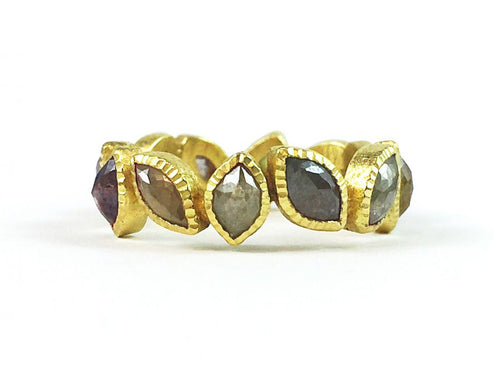 18K Yellow Gold and Marquise Diamond Ring
