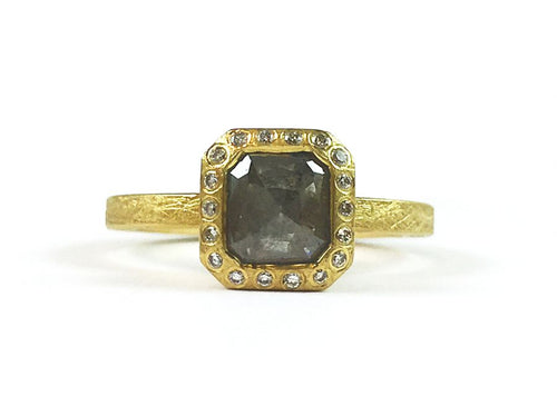 18K Yellow Gold and Fancy Cut Diamond Ring