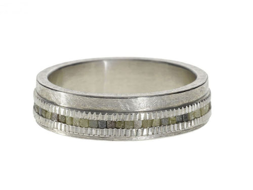 Raw Diamond Men's Wedding Band