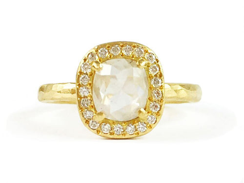 18K Yellow Gold and Gray Diamond Engagement Ring