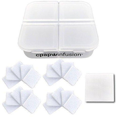CPAP Infusion Adapter Storage Container For Up To 20 Replacement Pads For Essential Oils, Includes 4 Blank Labels And 20 Refill Pads.