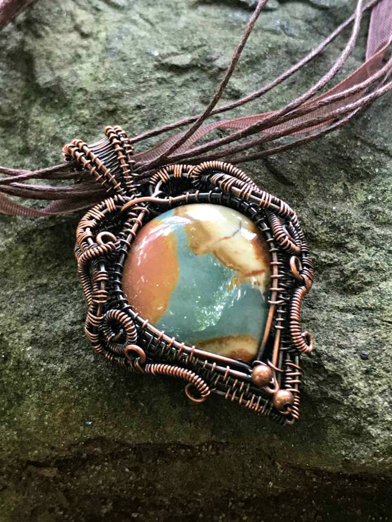Rare Polychrome Jasper Pendant Necklace