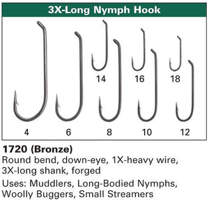 Daiichi 1720 - Long Bodied Nymph Hook - 3X Long