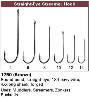 Daiichi 1750 - Straight Eye Streamer Hook - 4X Long