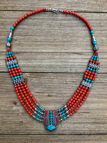 Karmah Tibetan Coral Necklace