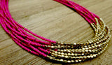 necklace, pink, gold
