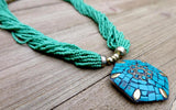necklace, handmade, green, turquoise
