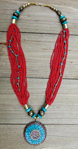 necklace, handmade, red, turquoise
