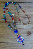 necklace, handmade, lapis, long