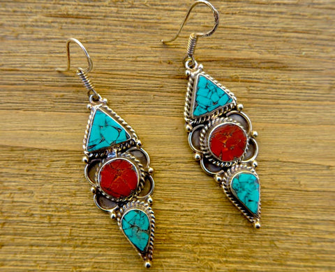 earring, handmade, artisan, coral, turquoise
