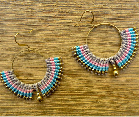 Earring, pink, gray, blue