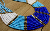 necklace, white, blue, bold, handmade