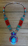 necklace, handmade, red, turquoise, beads