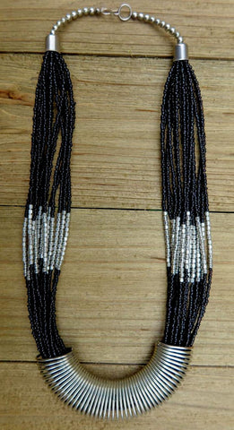necklace, black, silver