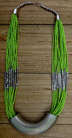 necklace, green, silver