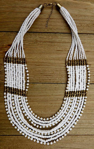necklace, layered, white, gold