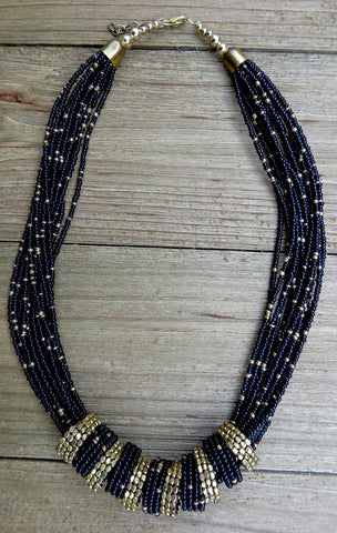 Necklace, Handmade, Black, Gold