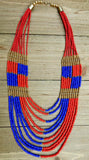 Martha Layered, necklace, blue, red, gold, american, flag