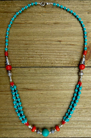 necklace, turquoise, handmade