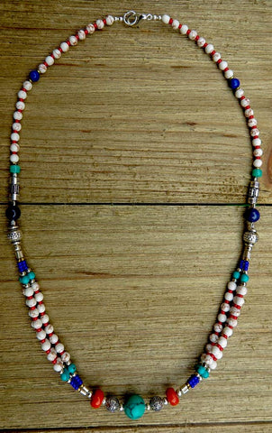necklace, handmade, turquoise, white, red