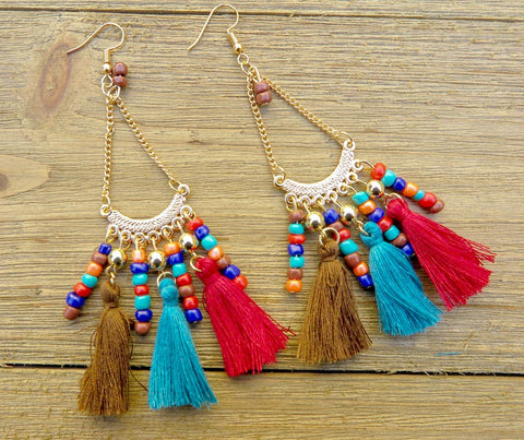 earring, tassel, multi color