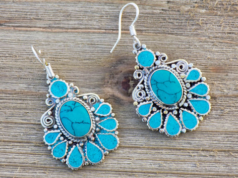 earring, handmade, floral, turquoise