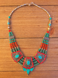 necklace, handmade, artisan, turquoise, red