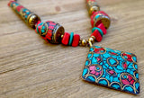 necklace, handmade, red, turquoise, beads, artisan