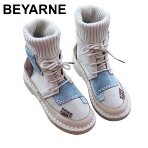 BEYARNEwomen's bottomed flat boots, soft bottom