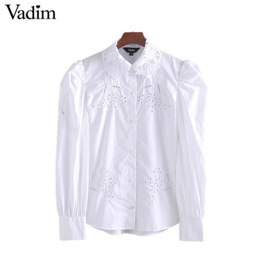 Vadim women embroidery hollow out blouse