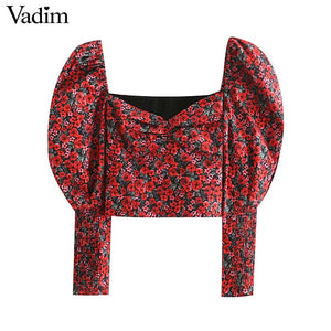 Vadim women retro floral print crop top V neck puff sleeve
