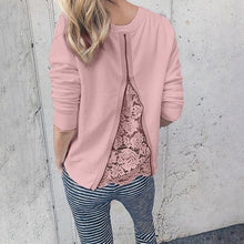 Women Spring Autumn Lace Patchwork Blouses Long Sleeve