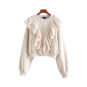 Vadim women chic lace ruffles sweatshirts long sleeve winter
